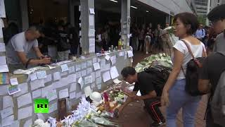 Flowers & candles in tribute to Hong Kong protester