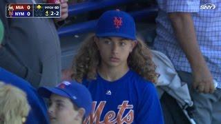 MIA@NYM: Mets fan rocking his hair like deGrom