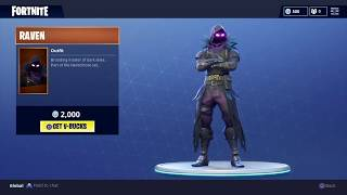 Fortnite - NEW Raven Skin/Outfit and Feathered Flyer Glider store preview.
