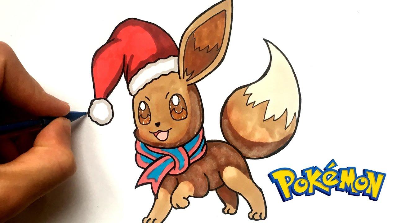 Christmas Eevee.How To Draw A Christmas Eevee Pokemon Go