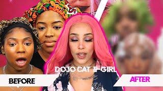 WE TRIED FOLLOWING DOJO CAT'S VOGUE E-GIRL MAKEUP ROUTINE| BLACK GIRLS TRY E-GIRL MAKEUP