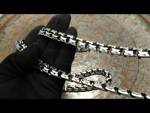 Тяжелая серебряная цепь и браслет бисмарк (garibaldi)