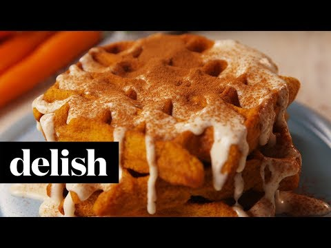 Carrot Cake Waffles with Maple Cream Cheese Drizzle
