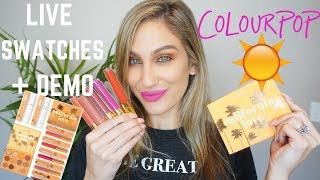 COLOURPOP CALIFORNIA LOVE COLLECTION  FULL LIVE SWATCHES + TUTORIAL