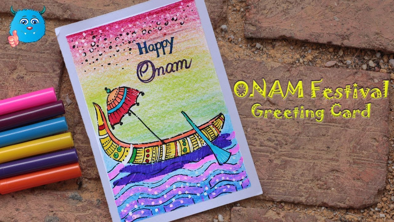 Happy Onam Festival Greeting Card Drawing For Kids Easy Onam