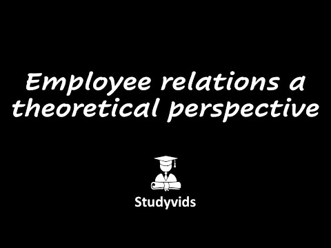 Employee Relations A Theoretical Perspective