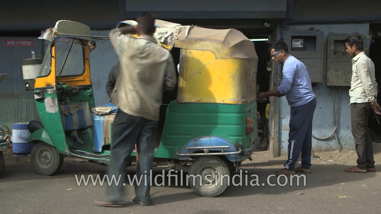 Stitching The Yellow Cover For An Auto Rickshaw Good Old Make In