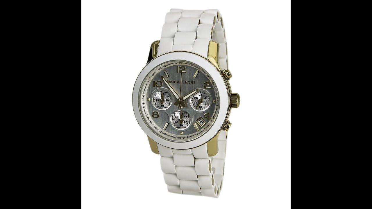 73a3cf2e2e0a Michael Kors MK5145 Women s Gold Tone Rubber Bracelet MOP Dial Chronograph  Watch Review Video