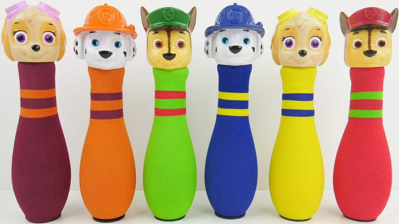 Bowling pin balloons - Learn Colors With Paw Patrol Bowling Colorful Balloons Popping Show For Toddlers Sparklespicefun Com
