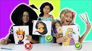 COLORINDO COM 3 CORES NA ESCOLA!! Bruxinha Memeia vs Princesasl!!