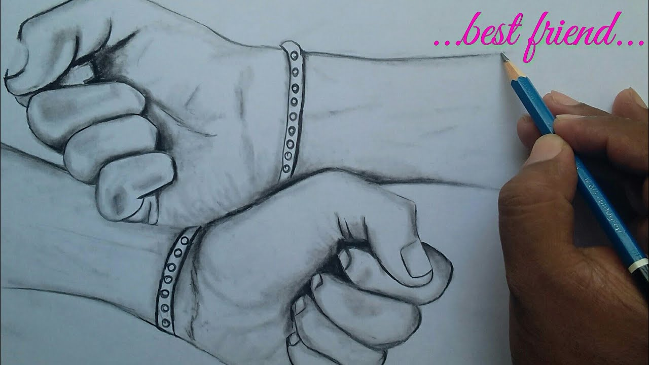 Friendship day drawing step by step ...