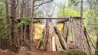 Teepee Smokehouse Build at a Bushcrafter Camp & Smoking Salmon in the Wild