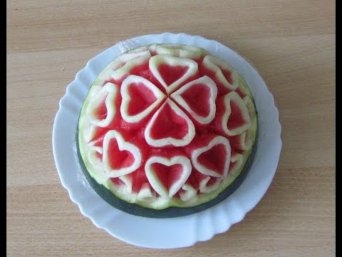 Hướng dẫn tỉa trái tim từ dưa hấu_Carving Art Watermelon-Valentine