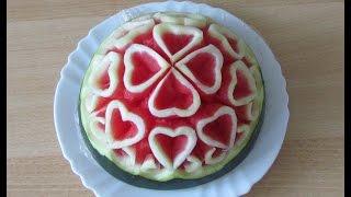 Cách tỉa trái tim từ Dưa hấu -Pruning heart from Watermelon-从西瓜修剪花草-Резьба Искусство
