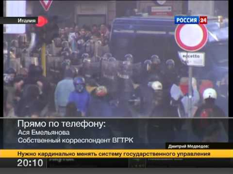 Protests in Rome. News on Russian TV