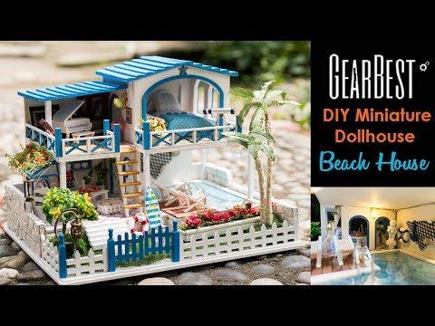 "DIY Miniature Dollhouse Kit Beach House ""Seaside Villa"" with Working Lights"