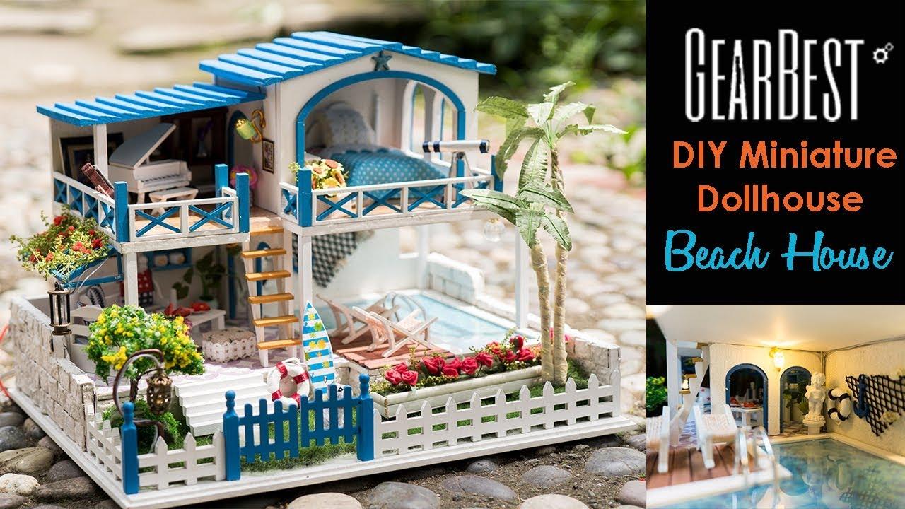 Diy miniature dollhouse kit beach house seaside villa for Beach house kit homes