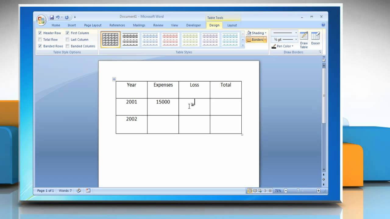 How to create formulas in word 2007 tables on windows 7 for Table design on word