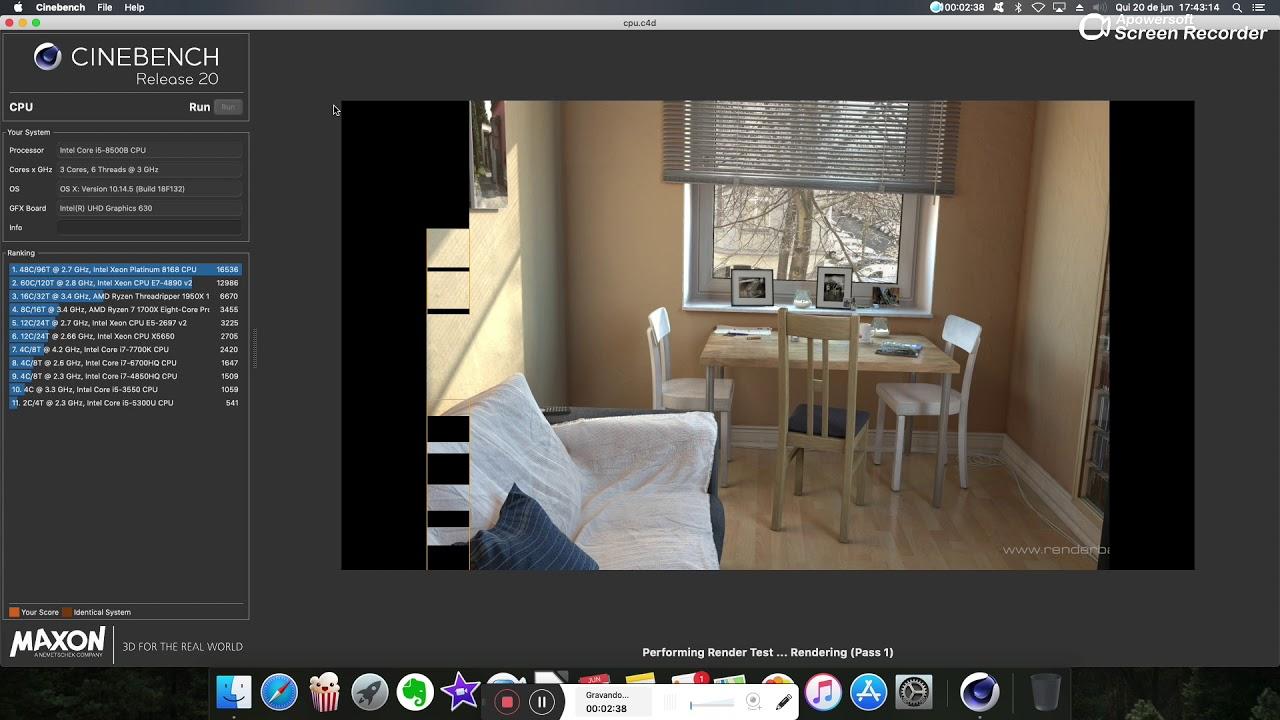 Benchmark Mac Mini 2018 Core i5 3 0Ghz MacOS Mojave