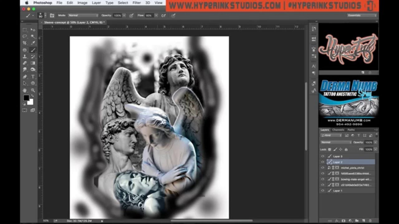 how to use photoshop for tattoo designs youtube. Black Bedroom Furniture Sets. Home Design Ideas