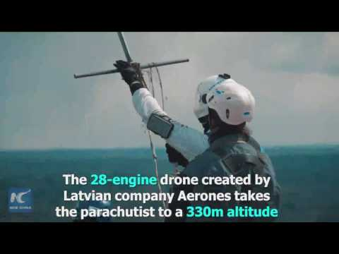 First ever parachutist jump from heavy lift drone pulled off in Latvia
