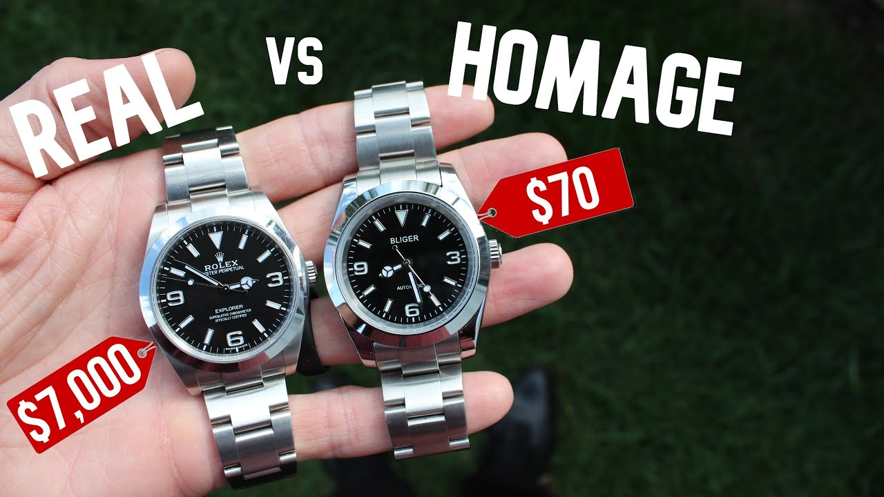 Download Real Rolex Explorer -VS- Homage from AliExpress   Side by Side Watch Comparison