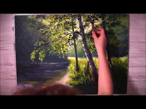 Obraz pejzaż krok po kroku Painting step by step landscape acrylic tutorial