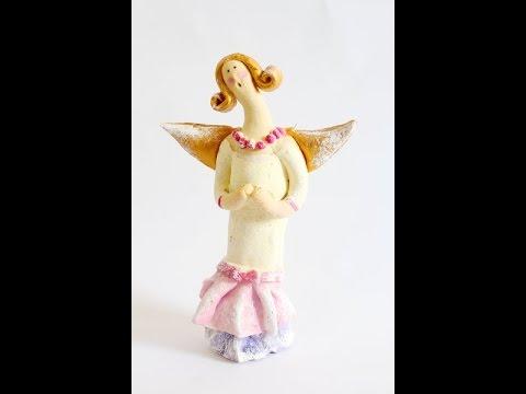 Stojący anioł Tilda z masy solnej