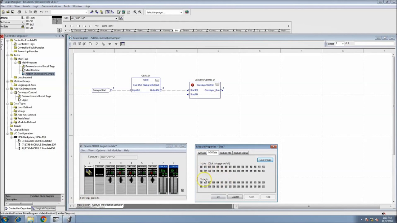 Add-On Instruction In Studio 5000 for Function Block With Emulated I/O  Control