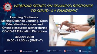 [Webinar] Learning Continues: Making Distance Learning, Open Education Resources [Webinar 30Apr10am)