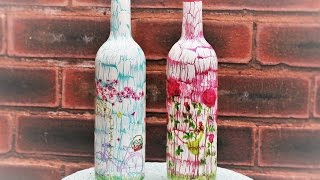 Decoupage Bottles - Decoupage tutorial - DIY painted glass - Decoupage for beginners