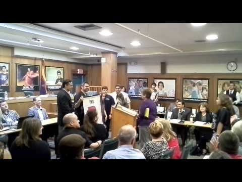 Alice Vail Middle School is Presented with Grade Banner at TUSD Board Meeting