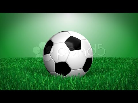 Cgi Soccer Ball On Grass - Loops, Alpha Channel. Stock Footage