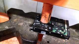 Hard drive destruction... with a 20 ton shop press