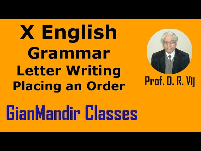 X English | Grammar | Letter Writing | Placing an Order by Nandini Ma'am