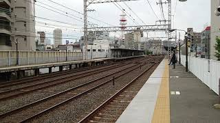HT鉄道動画 京阪電鉄関目駅9000系特急列車通過と5000系普通列車到着