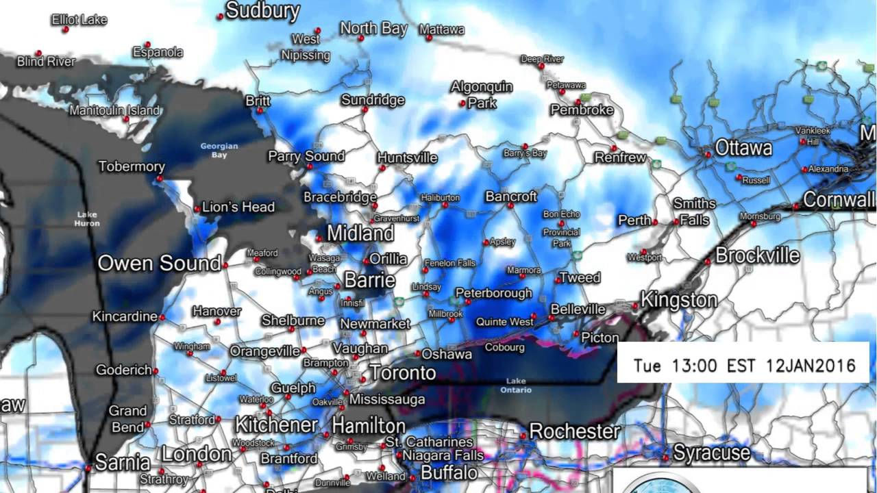 High resolution forecast model for today/tonight, Jan 12th, 2016 ...