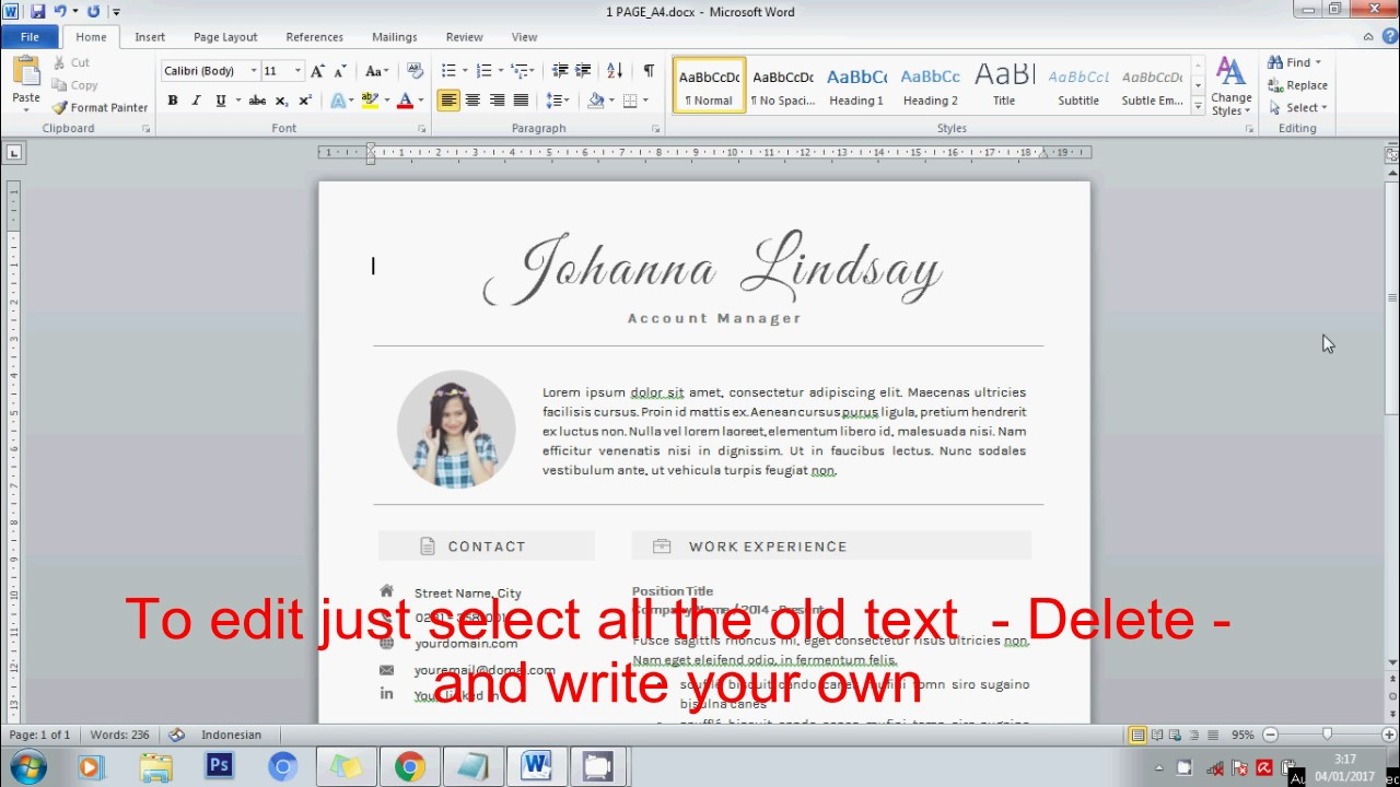 How to Edit Text Box on Creative Resume Using Microsoft Word - ZORRA DESIGN  on ETSY