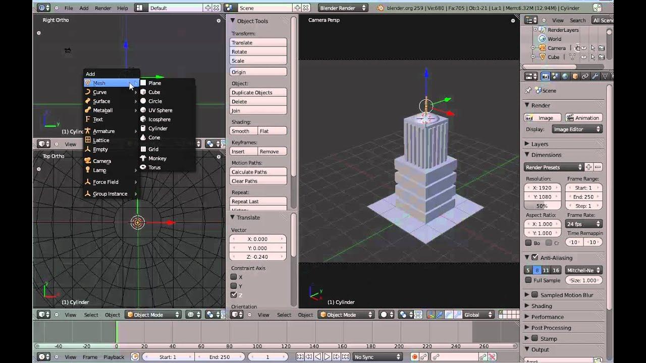 Crear un edificio con figuras b sicas mesh en blender 2 7 for Programa para hacer edificios en 3d