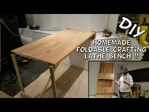 Homemade Foldable Crafting Table Build   Lathe Bench   DIY