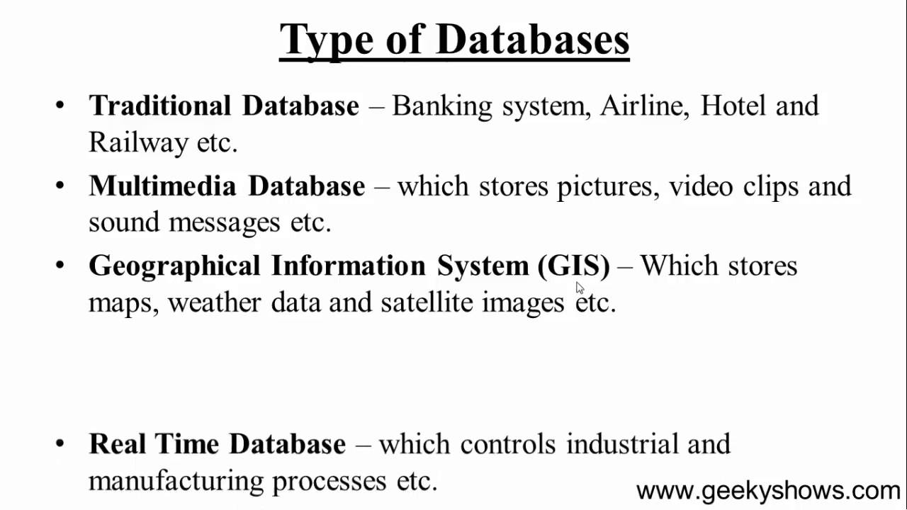 4 type of database hindi youtube Different Databases