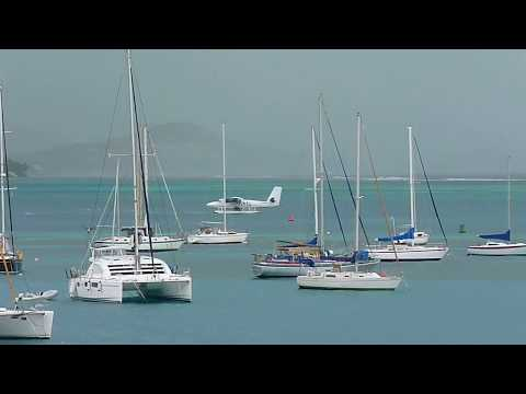 Seaborne Seaplane arriving at the harbor by Christiansted, Saint Croix, U.S. Virgin Islands