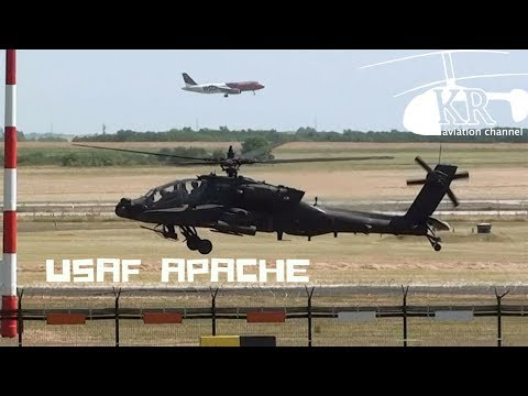 AH-64 Apache formation from U.S. Air Force lands at Liszt Ferenc International Airport
