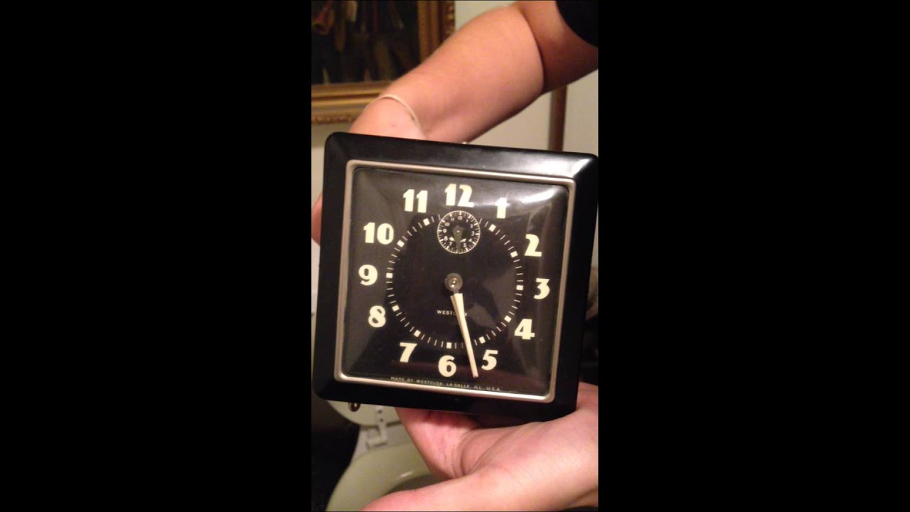westclox square artdeco style black w glow numbers manual wind rh youtube com Atomic Alarm Clock westclox atomic clock instructions model 70026