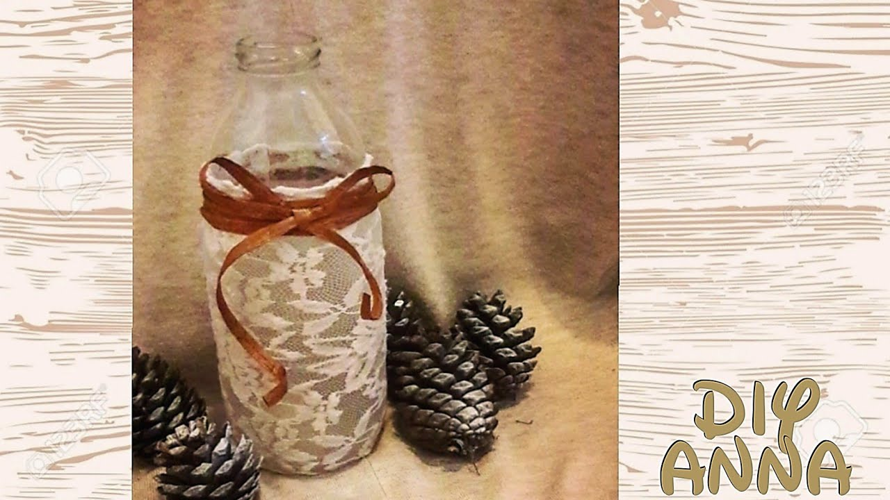 how to decorate bottle with lace and paper ribbon DIY ideas decorations  craft tutorial / URADI SAM