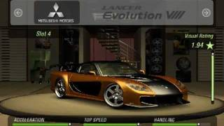 NFSU2 Fast and the Furious Cars.