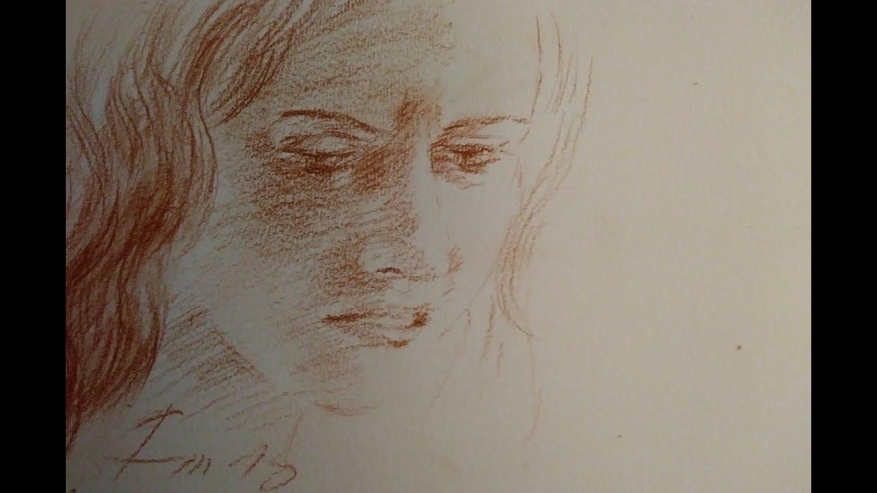 Comment dessiner un visage triste, dessin à la sanguine en temps réel