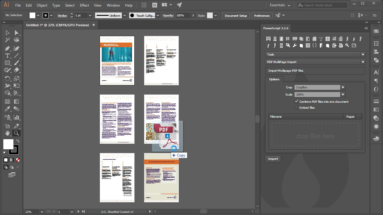 Create multi page pdf illustrator