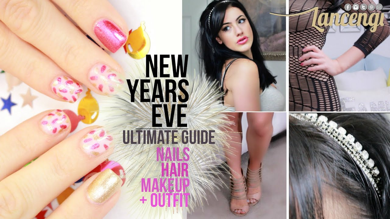 GRWM -New Years Eve Holiday Party Nail Makeup Hair Tutorial + Outfit ...