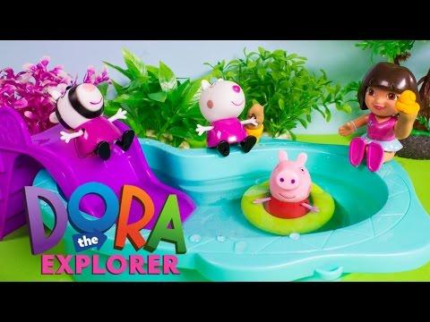 Peppa Pig & Dora The Explorer Pool Playset - La Piscina de Dora La Exploradora - Toy Videos